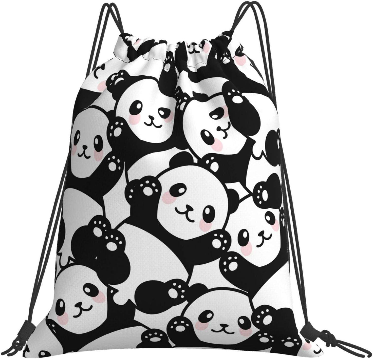 Cute Bombing free shipping Cartoon Panda Drawstring Backpack Las Vegas Mall Lightweight Waterproof St