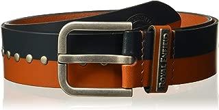 "Royal Enfield Navy & Tan Studded Leather Belt Length 36"" (RLCBEK000004)"