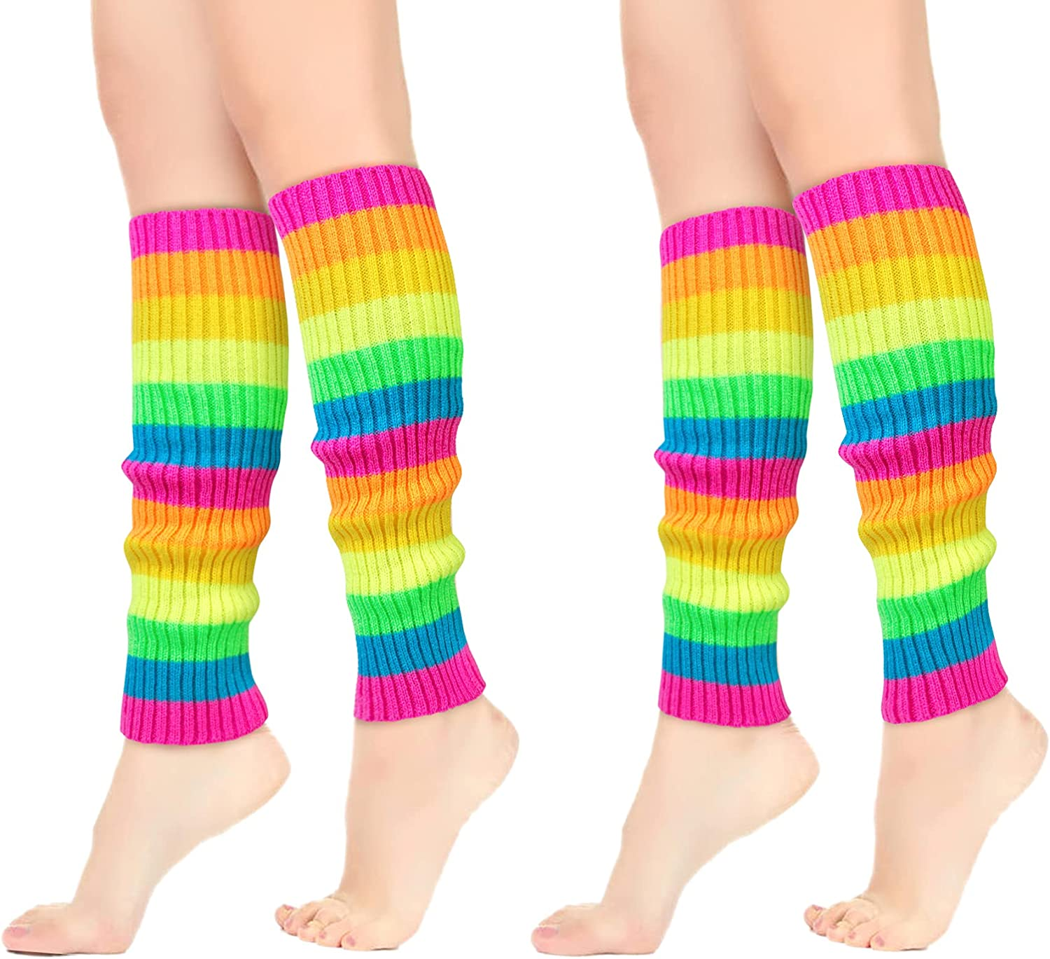 Leg Warmers for Women 80s Neon Knit Ribbed Leg Warmers for Dance Yoga Sports Party Accessories