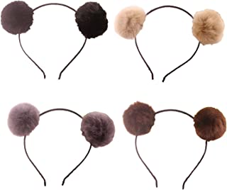 Headband Bear Ears Fluffy Furry Soft Ball Cute Fashion Hoop Hairband Halloween Christmas Party Birthday Headwear Cosplay Costume for Girls Boys Toddlers Kids Adults (B set)