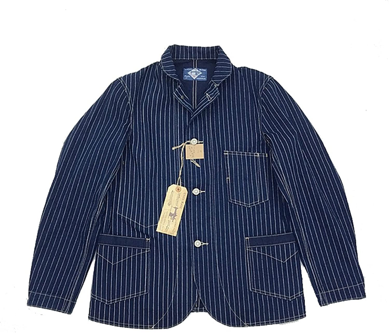 VTGDR Vintage Wabash Indigo Railroad Jacket Men Striped 13oz Work Jackets