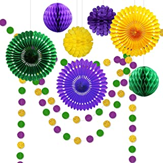 9pcs Gold Purple and Green Decorations for Party Centerpiece Glitter Circle Garlands Banner Paper Fan Pom Poms for Fat Tuesday/Mardi Gras Theme Celebration/baby Shower/Birthday/Easter Party Supplies