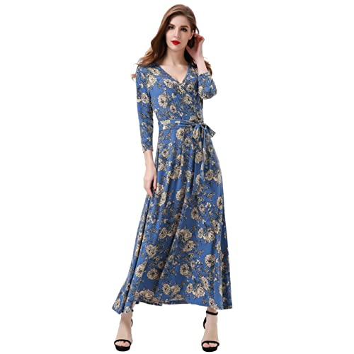 c2457fcd370d9 Aphratti Women s 3 4 Sleeve Faux Wrap V Neck Floral Vintage Long Maxi Dress