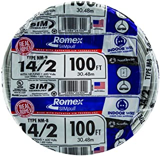 Southwire 28827423 100' 14/2 with ground Romex brand SIMpull residential indoor electrical wire type NM-B, White