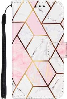 TYWZ Case voor Xiaomi Redmi Note 9 Pro Marble, PU Lederen Geometrisch Marmeren Patroon Flip Wallet Cover met Polsband Magn...