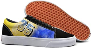 Blue and Yellow 35 KD Pattern Women Skate Shoe Slip on Sneakers Classic Shoes