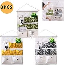 Osuter 3PCS Borsa Portaoggetti da Parete Tessuto Storage Tasche Portaoggetti Impermeabile Pieghevole Borsa per Cucina Bagno Ufficio