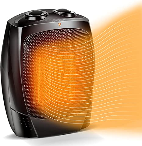 Space Heaters for Indoor Use - Fast-Heating 1500W Electric Heater Small Space Heater w/ Adjustable Thermostat, Tip Over & Overheat Protection, Quiet Portable Ceramic Heater for Office, Home & Bedroom: image