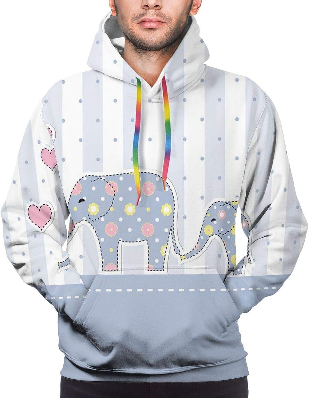 Men's Hoodies Sweatshirts,Baby Shower Themed Cheerful Newborn Celebration with Pastel Toned Striped