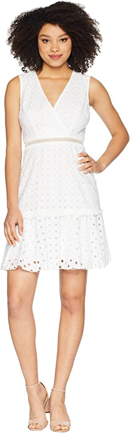 V-Neck Sleeveless Eyelet Dress with Waist Faggoting