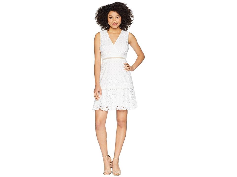 Donna Morgan V-Neck Sleeveless Eyelet Dress with Waist Faggoting (White) Women