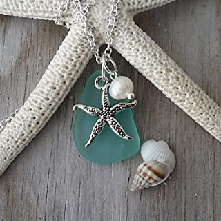 """product image for Handmade in Hawaii, Aqua""""March Birthstone"""" sea glass necklace, freshwater pearl, Starfish charm, (Hawaii Gift Wrapped, Customizable Gift Message)"""