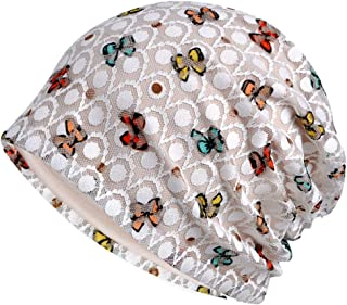 AMOH JERCY Cotton Beanie for Women, Lace Cool and Comfy Turban, Soft Sleep Cap Chemo Hats, Fashion Slouchy Hat