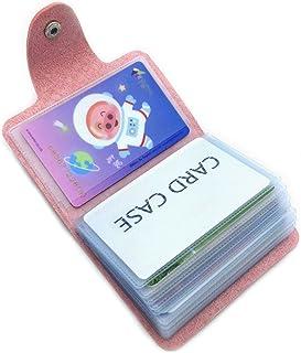 Porta Carte di Credito Pelle Donne Uomo - 24 Slot (Rosa)