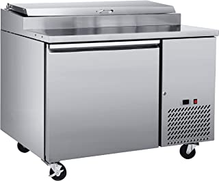 """Chef's Exclusive CE372 One 1 Single Door Commercial Pizza Prep Table Stainless Steel Cooler Refrigerator 10.9 Cubic Feet (6) 1/3 Size Pans Environmentally Friendly R290 Refrigerant, 47"""" Wide, Silver"""