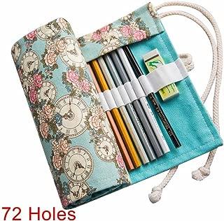 Alextreme Pencil Case Canvas Roll Pouch Comestic Makeup Brush Case Pencil Curtain Bag Pattern Printed