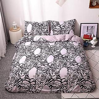 XLLJA påslakan 2 kuddöverdrag, vit tiger sängklädesset, tryckt påslakan och örngott junior sovrum, passar för enkel-, dubb...