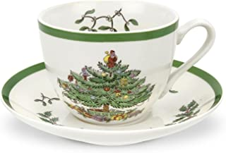Spode Christmas Tree Teacup and Saucer,Set of 4