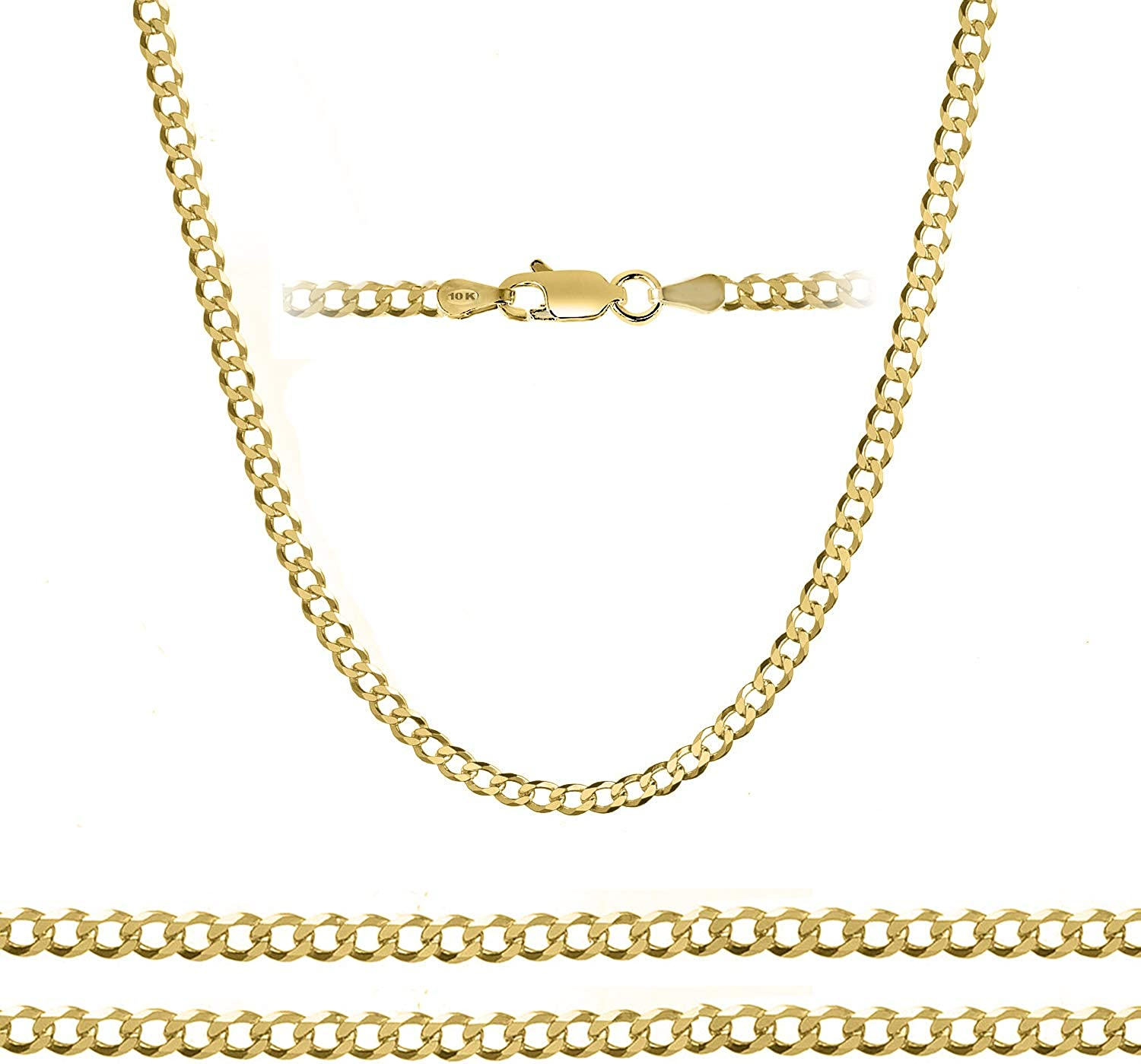 10K Yellow Gold 5mm Curb Chain Necklace and Bracelet, 7