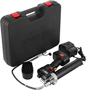 Hopopular Cordless Grease Gun 18V Cordless Grease Gun Kit One Hour Fast Charger Battery Powered Cordless Grease Gun Battery