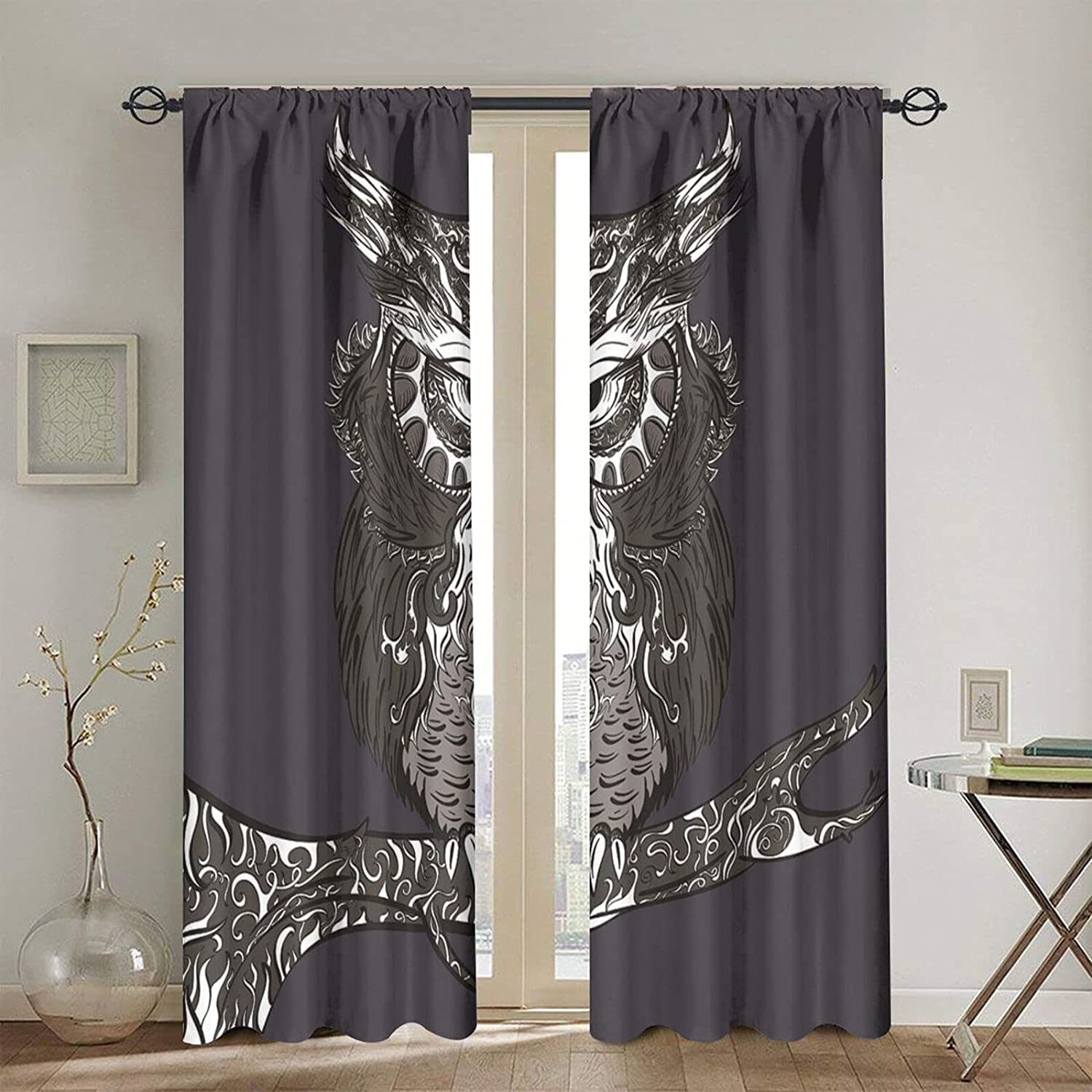 Blackout Max 57% OFF Curtains for Girls Boys online shop Cool Owl D Cartoon Branch Home