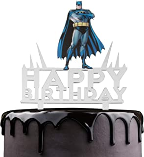 Batman Happy Birthday Cake Topper - Justice League Theme Party Cake Décor - Baby Shower Child Birthday Party Supplies - Adorable The Dark Knight Superheroes Mirrored Acrylic Decoration