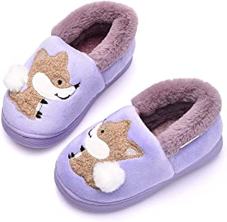 Ainikas Toddler Boys Girls Slippers Fluffy Little Kids House Slippers Warm Fur Cute Animal Home Slipper, Purple 18-19