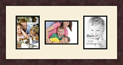 Art to Frames Double-Multimat-213-868//89-FRBW26061 Collage Frame Photo Mat Double Mat with 3-5x7 Openings and Espresso Frame
