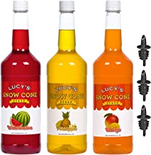 Lucy's Shaved Ice Snow Cone Syrups with Pourers - Watermelon, Pineapple, Mango - 32oz Syrup Bottles (Pack of 3) (Tropical Pack)