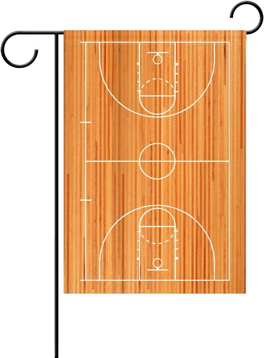 Amazon Com Wozo Funny Basketball Court Garden Flag Wooden Court 12 X 18 Polyester Outdoor Flag Home Party Garden Outdoor