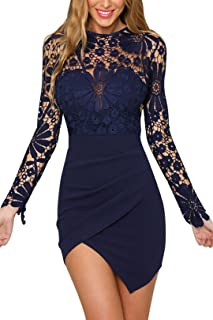 YOINS Summer Dresses for Women Sexy Bodycon Crochet Lace Wrap Front Mini Cocktail Party Dress