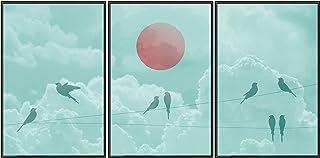 murando Set de 3 Poster avec Cadre Noir Tableaux Impression Artistique Poster Encadré Tableaux Murale Galerie Moderne Déco...