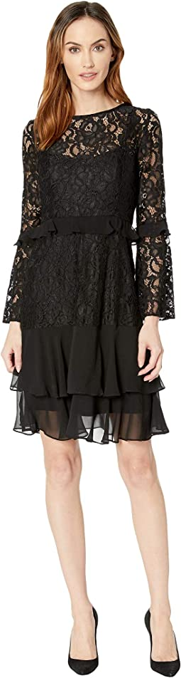 Lace and Chiffon Bell Sleeve Dress