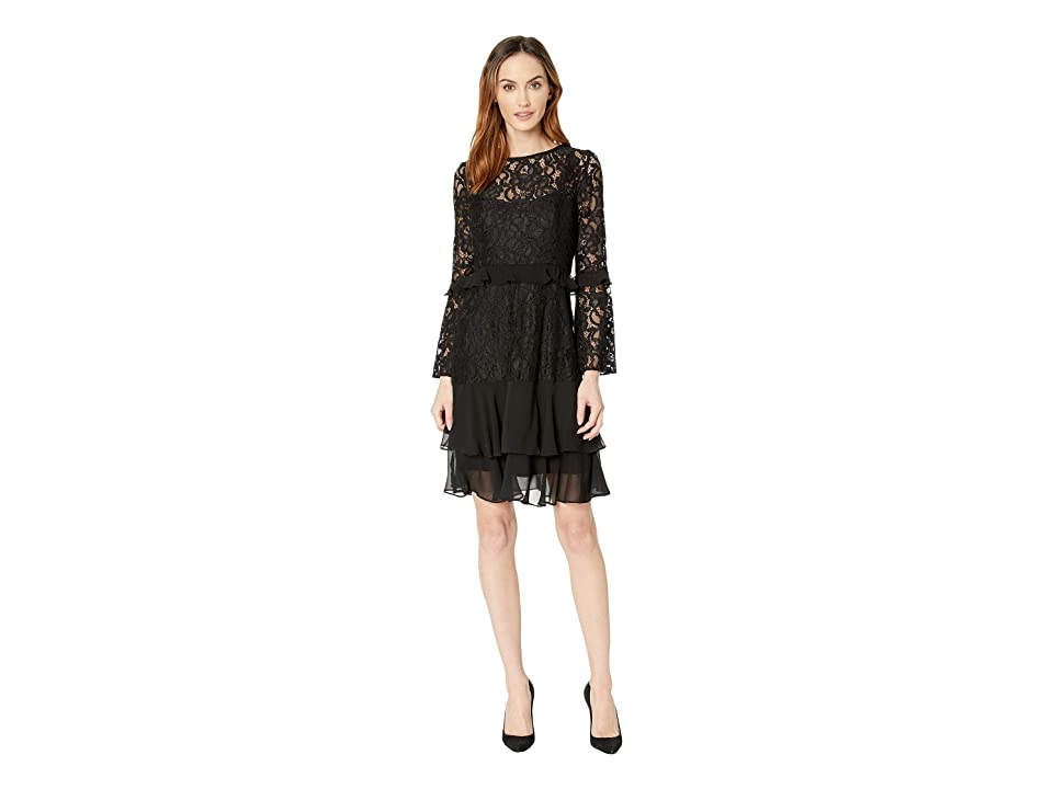 Taylor Lace and Chiffon Bell Sleeve Dress (Black) Women