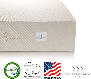 Brentwood Home 13-Inch Gel HD Memory Foam Mattress, Made in USA, CertiPUR-US, 25 Year Warranty, Natural Wool Sleep Surface and Bamboo Cover, Split California Cal King Size