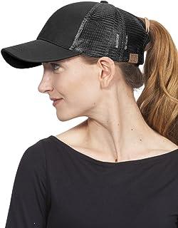 C.C Ponycap Messy High Bun Ponytail Adjustable Mesh Trucker Baseball Cap Hat, Black