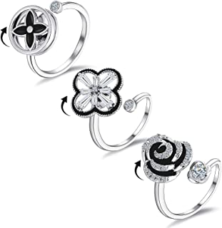 Shinyyep 3 Pcs Fidget Spinner Rings Anti Anxiety Ring for Women, Cubic Zirconia Ring Adjustable Spinner Ring Relieving Anx...