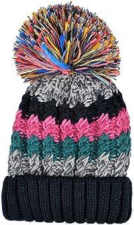 Color City Womens Bohemian Crochet Knit Slouchy Pom Pom Handmade Beanie Winter Ski Warm Hat