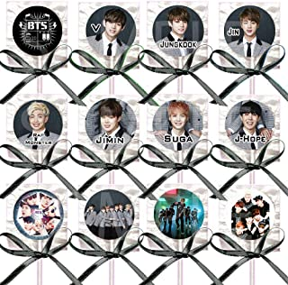 K Pop Pop Band، تصاویر متنوع Lollipops Party از لوازم دکوراسیون w / Rubbbon Bows Party Party (12 قطعه) طرفداران کره جنوبی (12 قطعه) گروه موسیقی پسر کره جنوبی ، جین Suga J-Hope RM Jimin V Jungkook