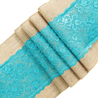 ARKSU Turquoise Burlap Table Runner,12 by 72 inch No-fray Jute Hessian Vintage Rustic Natural Wedding Christmas Country Outdoor Decor