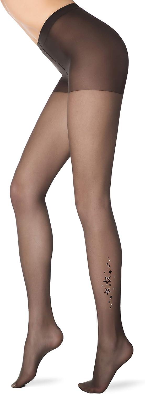 Conte Women's Stylish Rhinestone Tan Pantyhose Tights with Stars Pattern