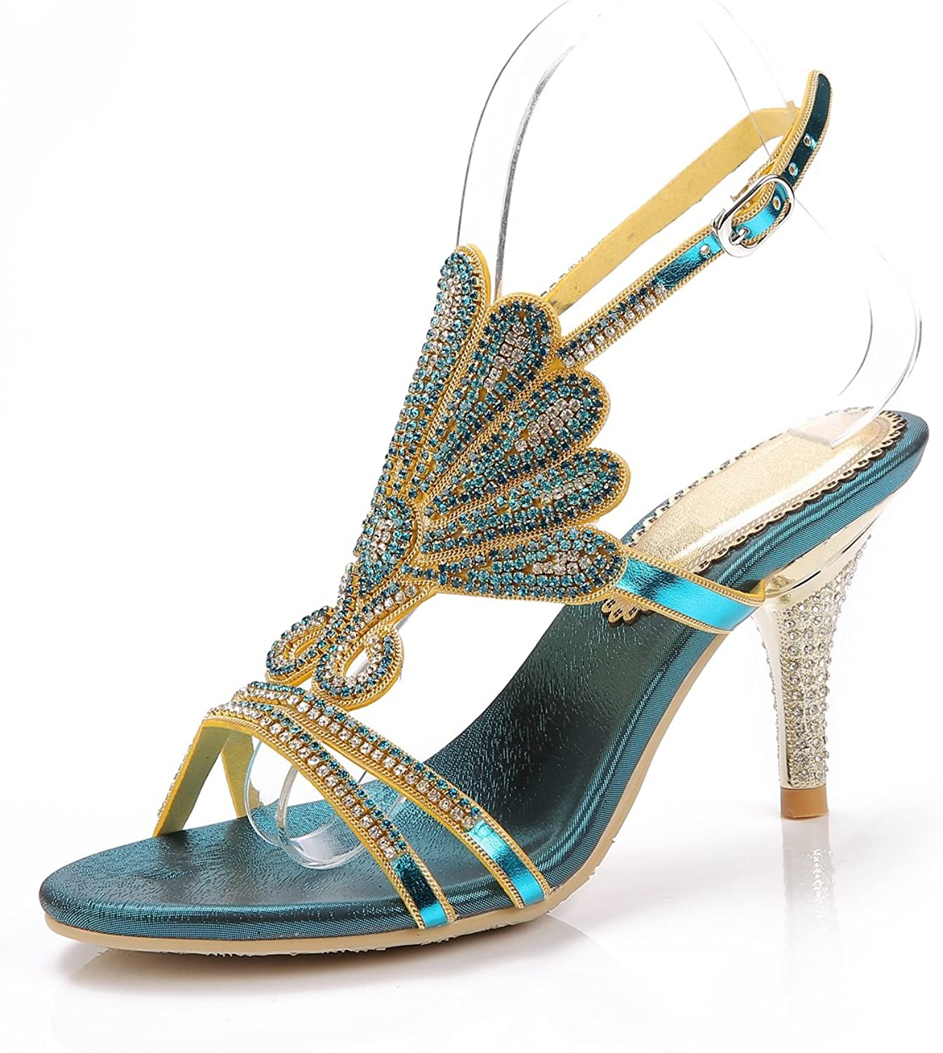 Women's shoes Glitter Leather Summer Club shoes Sexy Sandals Heels Rhinestone for Party & Evening Dress gold