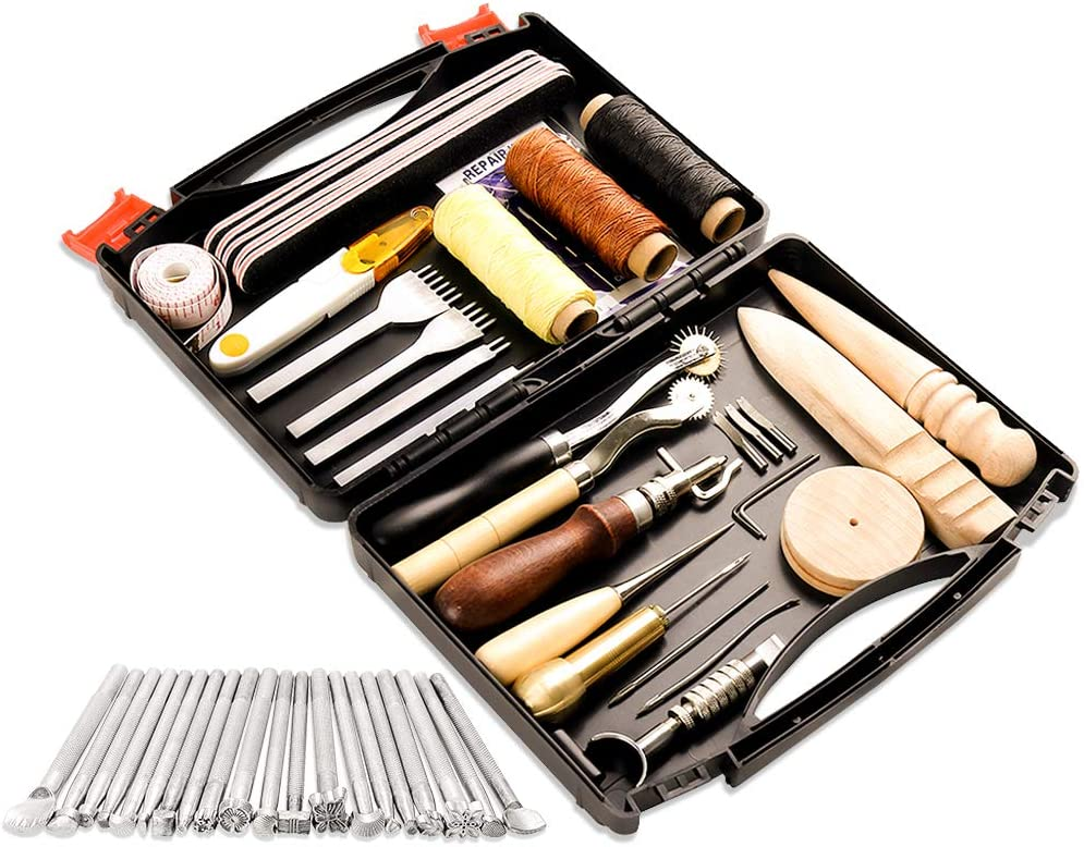 A surprise price is realized mart 50 Pieces Leather Working Tools Tool and B Supplies with