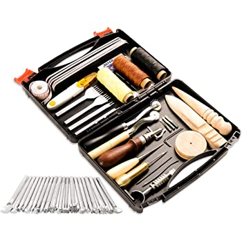 50 Pieces Leather Working Tools and Supplies with Leather Tool Box Prong Punch Edge Beveler Wax Ropes Needles Perfect for Stitching Punching Cutting Sewing Leather Craft Making