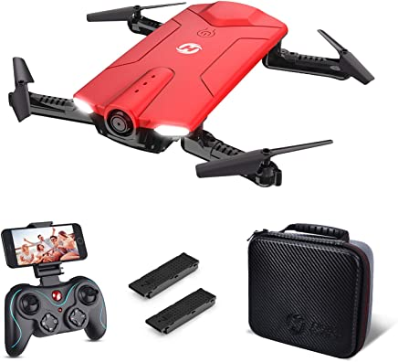$89 Get Holy Stone HS160 Drone with Camera, RCQuadcopter Foldable Drone with WiFi FPV 720p Camera Live Videofor Beginners & Kids - Altitude Hold, One Key Start, APP Control and Portable Carrying Case, Red