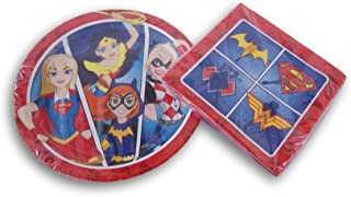 Justice League Girls Party Supply Kit - Dinner Plates and Napkins