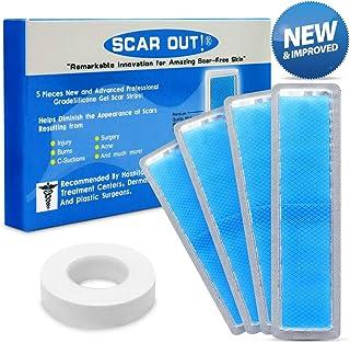 围巾! 硅胶*痕床单(2-4 个月供应)- C Section Recovery Scar Treatment、Keloid Scar Removal 和 Acne - 4x 适用于两种尺寸的*痕硅胶薄膜 - *痕硅胶胶带