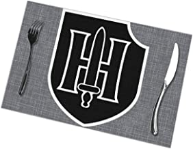 CANpd Zhan 9th SS Panzer Division Table Accessories Placemat Kitchen Table Place Mat Dinner Hall Dinner Table Mats Gray Dining Table Set of 6 Pcs
