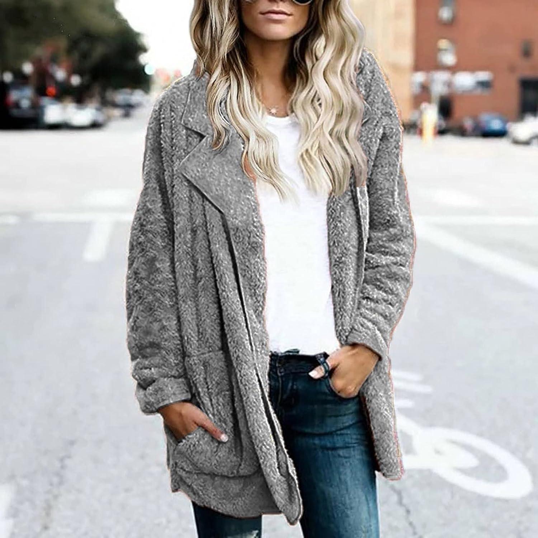 Womens Sherpa Fleece Cardigan Loose Long Sleeve Open Front Jacket Coat with Pockets Solid Winter Warm Furry Outerwear