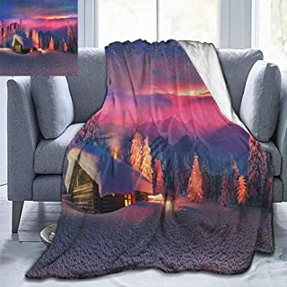 Elxmzwlob Christmas Blankets,Throw Blankets,Milky Way,Wild Alpine Scene with Cabin in The Woods Winter with Starry Skyline Illustration,Multicolor-All Season Warm(70